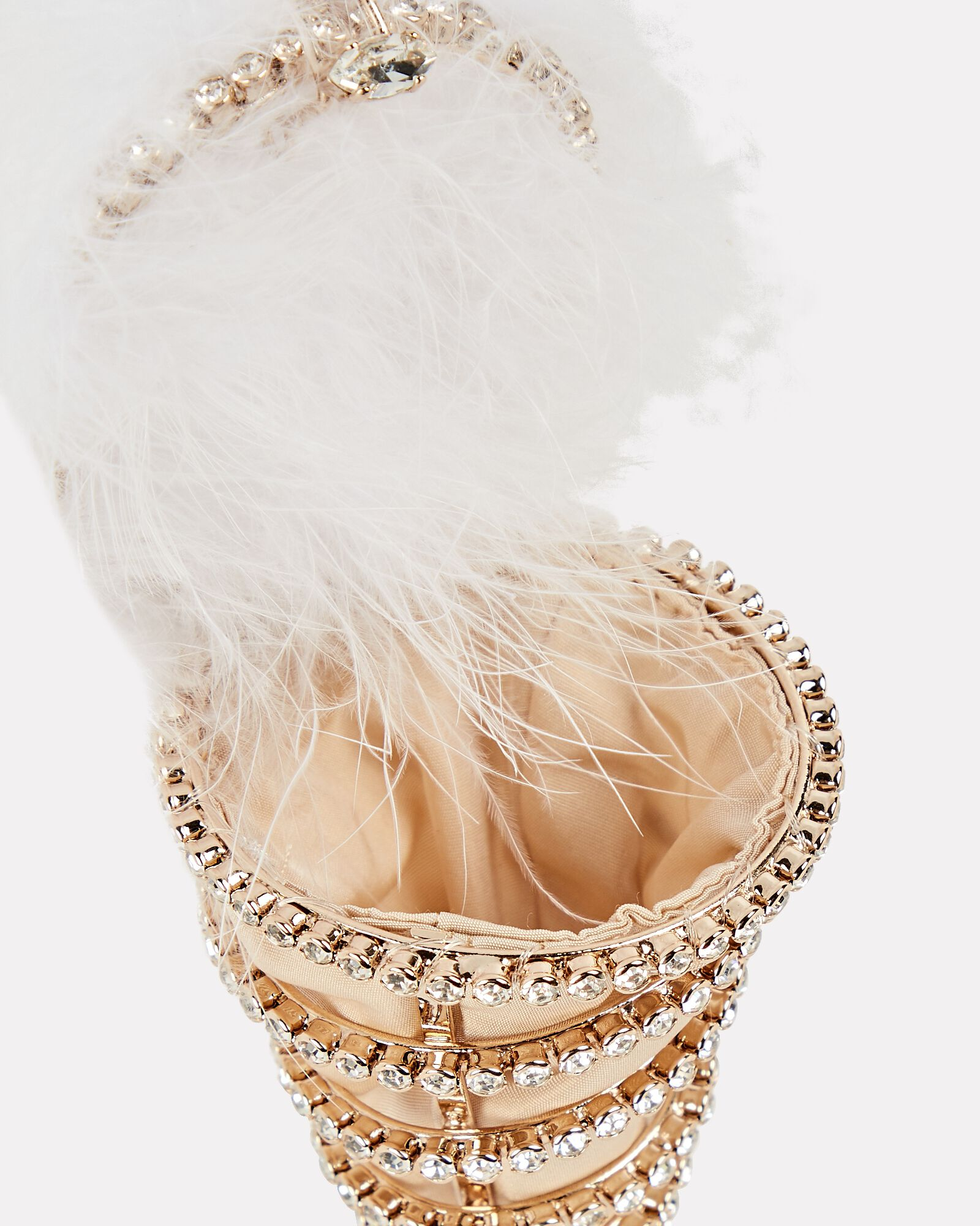 Crystal-Embellished Feather Ice Cream Clutch, WHITE, hi-res
