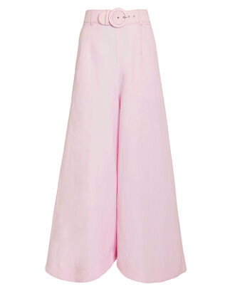 Belted Wide Leg Cotton Pants, PINK, hi-res