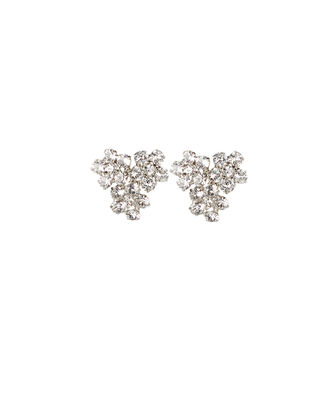 Violet Cluster Crystal Stud Earrings, CLEAR, hi-res