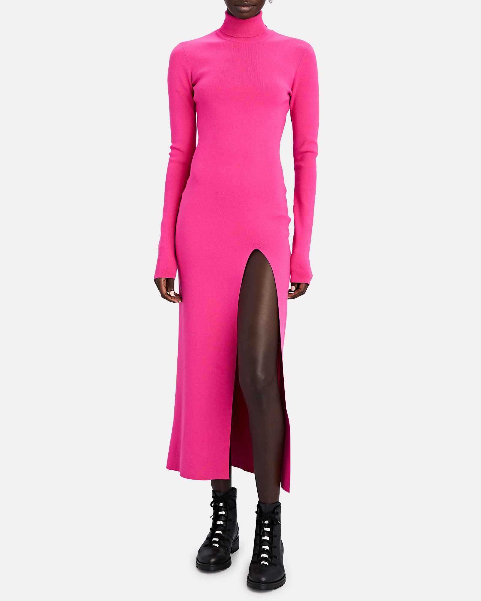Turtleneck Rib Knit Midi Dress, PINK, hi-res