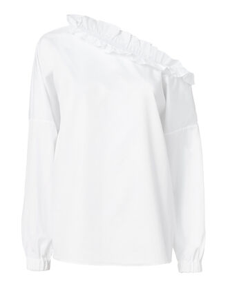 Satin Poplin One Shoulder Ruffle Blouse, WHITE, hi-res