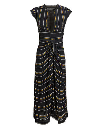 Striped Midi Dress, BLACK/YELLOW/WHITE, hi-res