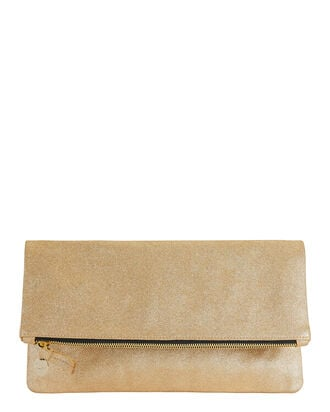 Metallic Gold Suede Clutch, GOLD, hi-res