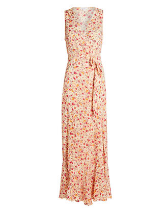Bonnie Floral Maxi Wrap Dress, BEIGE, hi-res