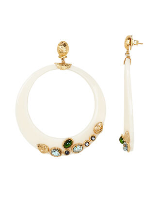 Bo Lodge Stone Hoops, WHITE/GOLD, hi-res