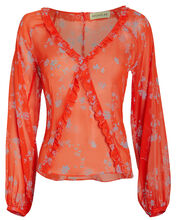 Poppy Silk Chiffon Floral Blouse, MULTI, hi-res