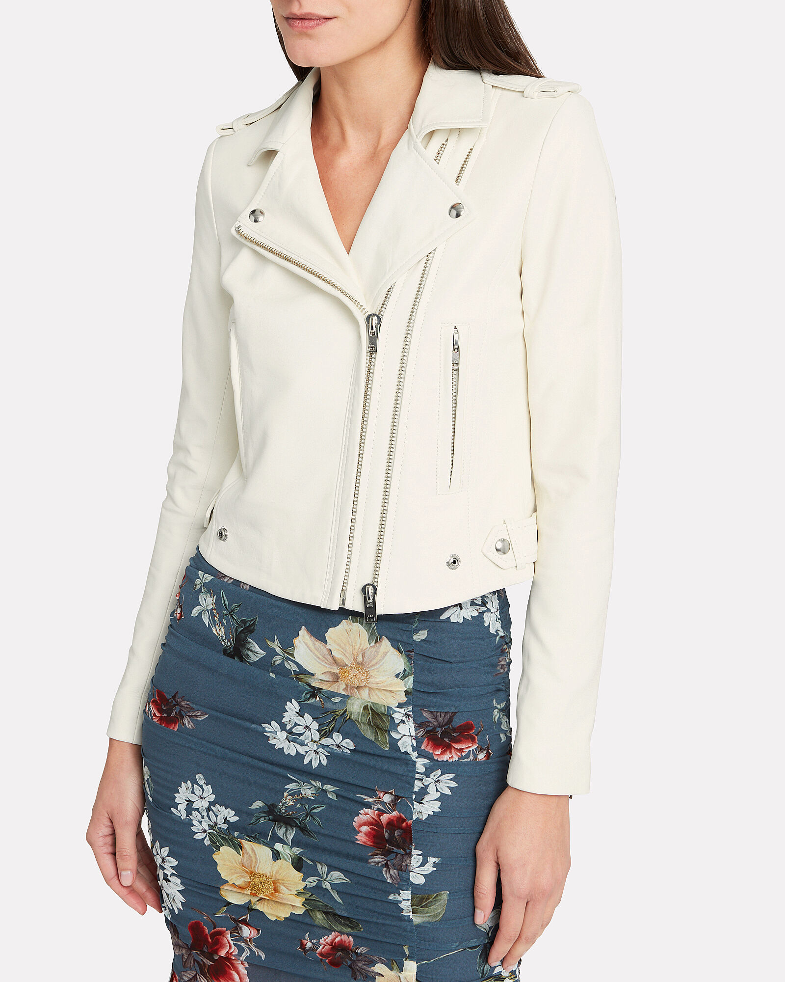 Dylan Cropped Leather Moto Jacket, WHITE, hi-res