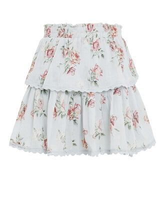 Ruffle Floral Mini Skirt, SLATE/FLORAL, hi-res