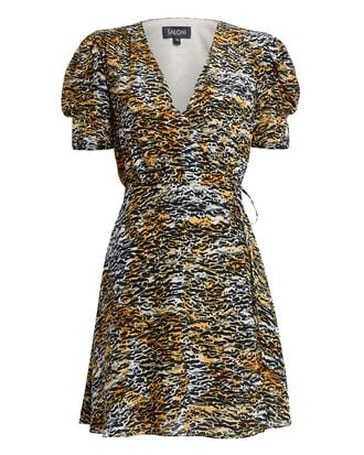 Lea Mini Wrap Tiger Dress, BLACK/BROWN, hi-res