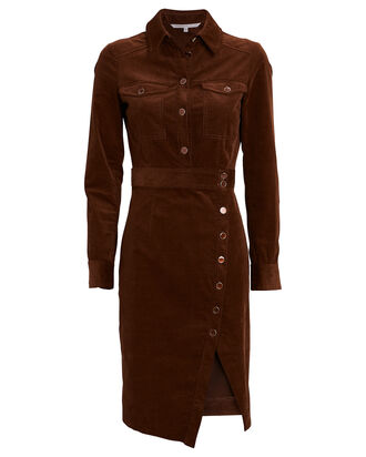 Britton Velvet Midi Shirt Dress, BROWN, hi-res