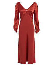 Twisted Satin & Crepe Silk Dress, RED, hi-res