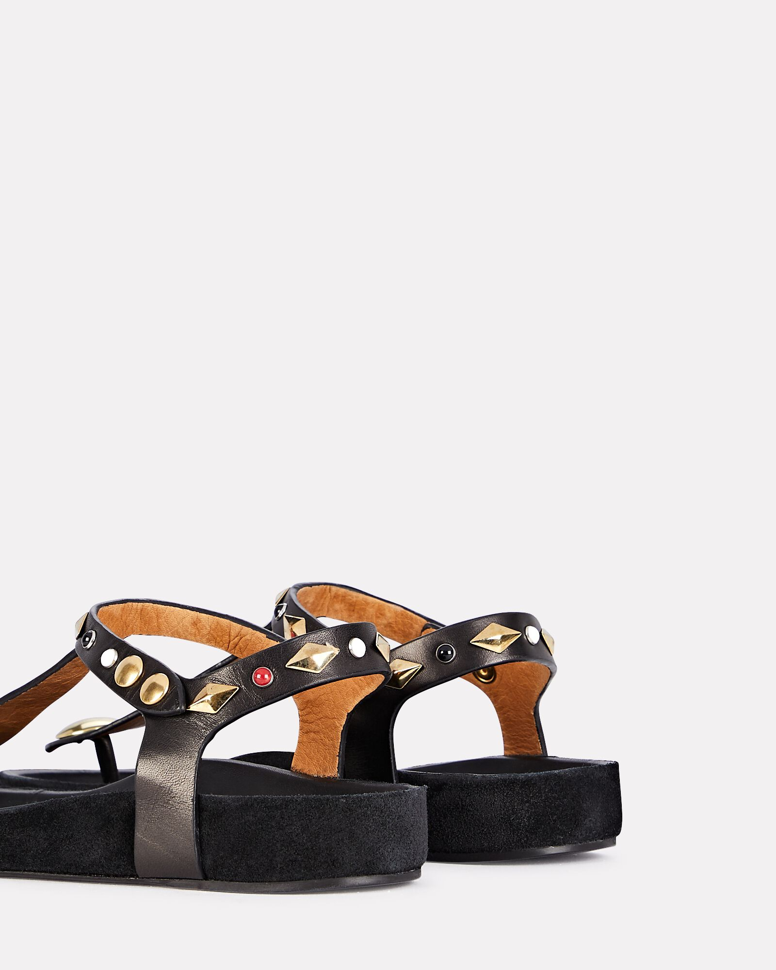 Enore Studded Leather Thong Sandals, BLACK, hi-res