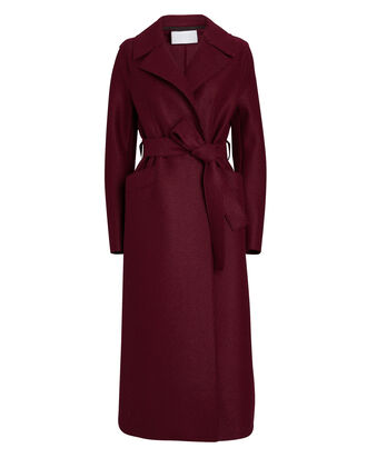 Belted Long Virgin Wool Coat, BURGUNDY, hi-res