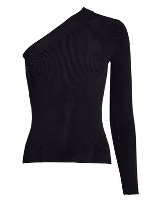 Tonya One-Shoulder Rib Knit Top, BLACK, hi-res
