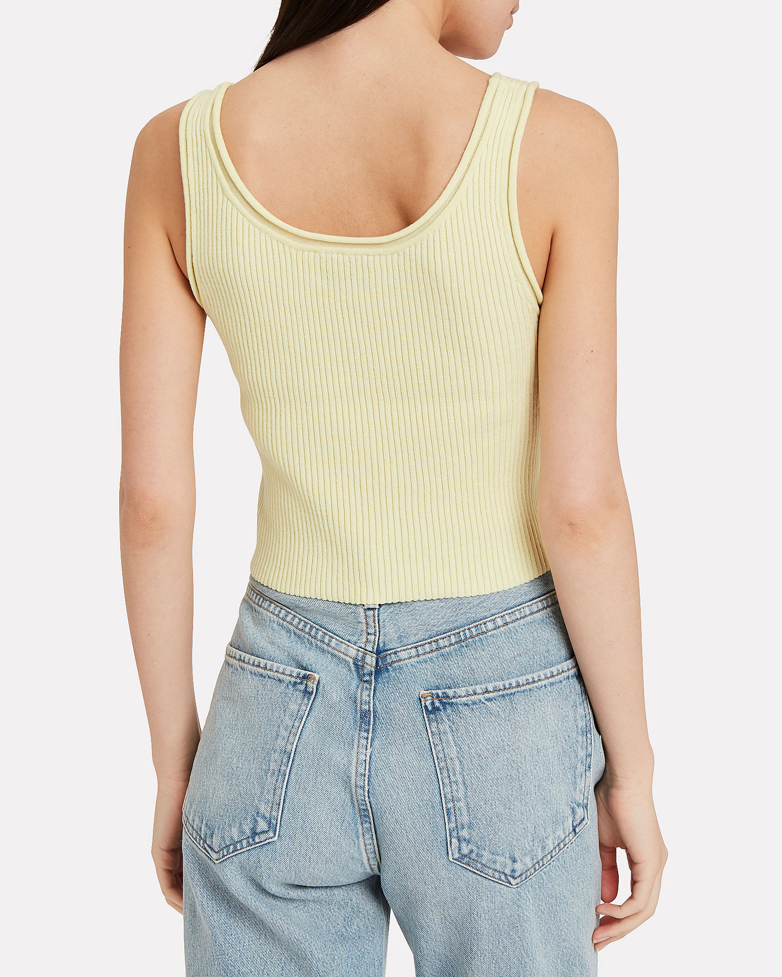 Cropped Ribbed Wool-Blend Tank, YELLOW, hi-res
