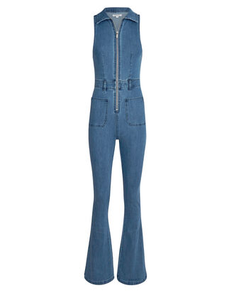 Flared Denim Sleeveless Jumpsuit, DARK WASH DENIM, hi-res