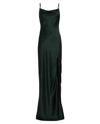 Chase Silk Maxi Slip Dress, DARK GREEN, hi-res