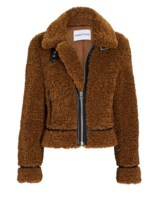 Audrey Cropped Faux Shearling Jacket, BROWN, hi-res