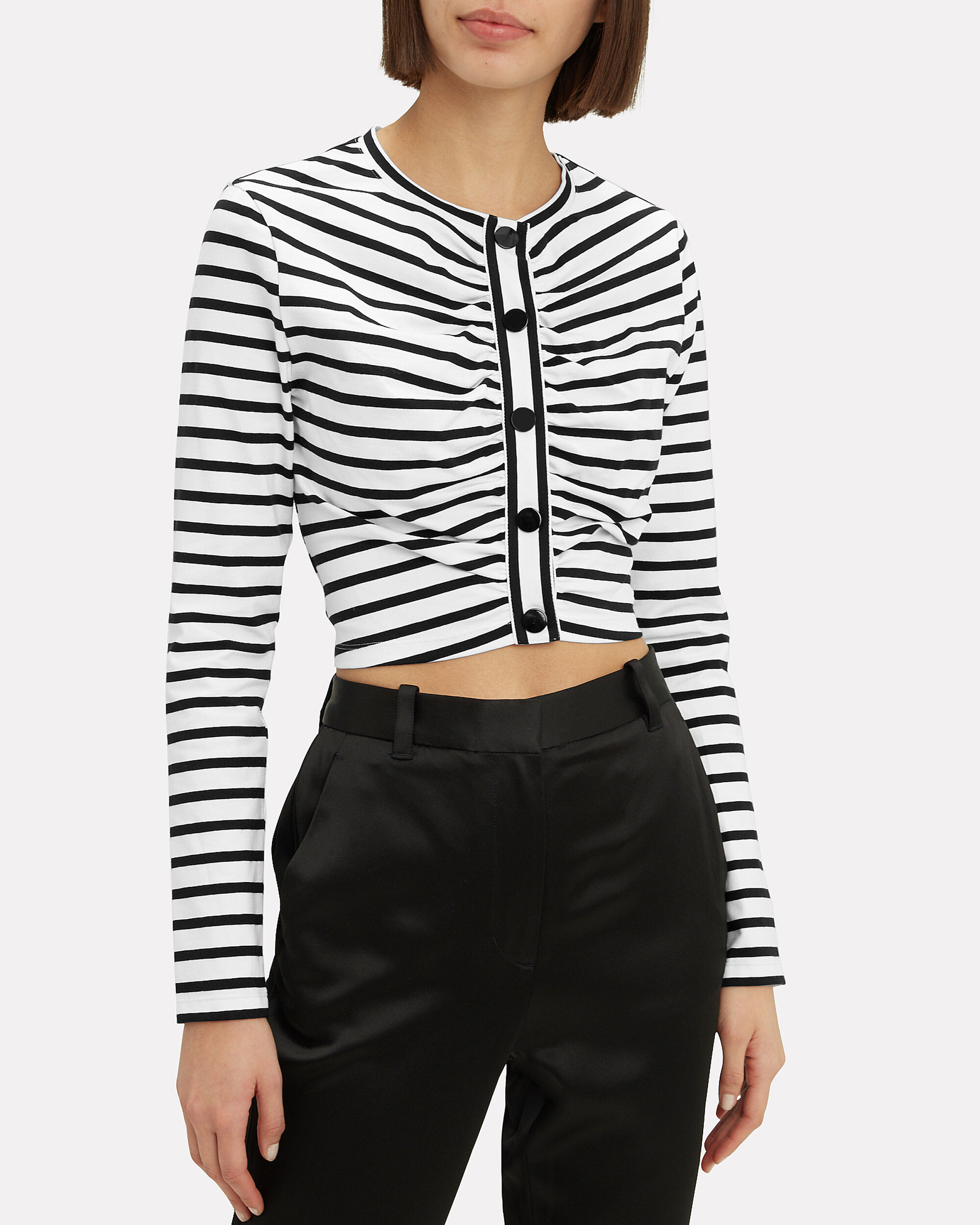 Stripped Cropped T-Shirt, BLACK/WHITE, hi-res