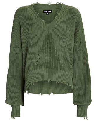 Syd Distressed V-Neck Sweater, OLIVE/ARMY, hi-res
