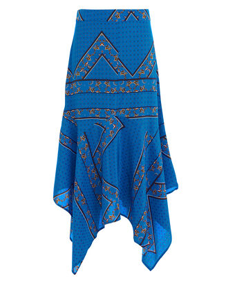 Sandwashed Lapis Blue Silk Skirt, BLUE-MED, hi-res