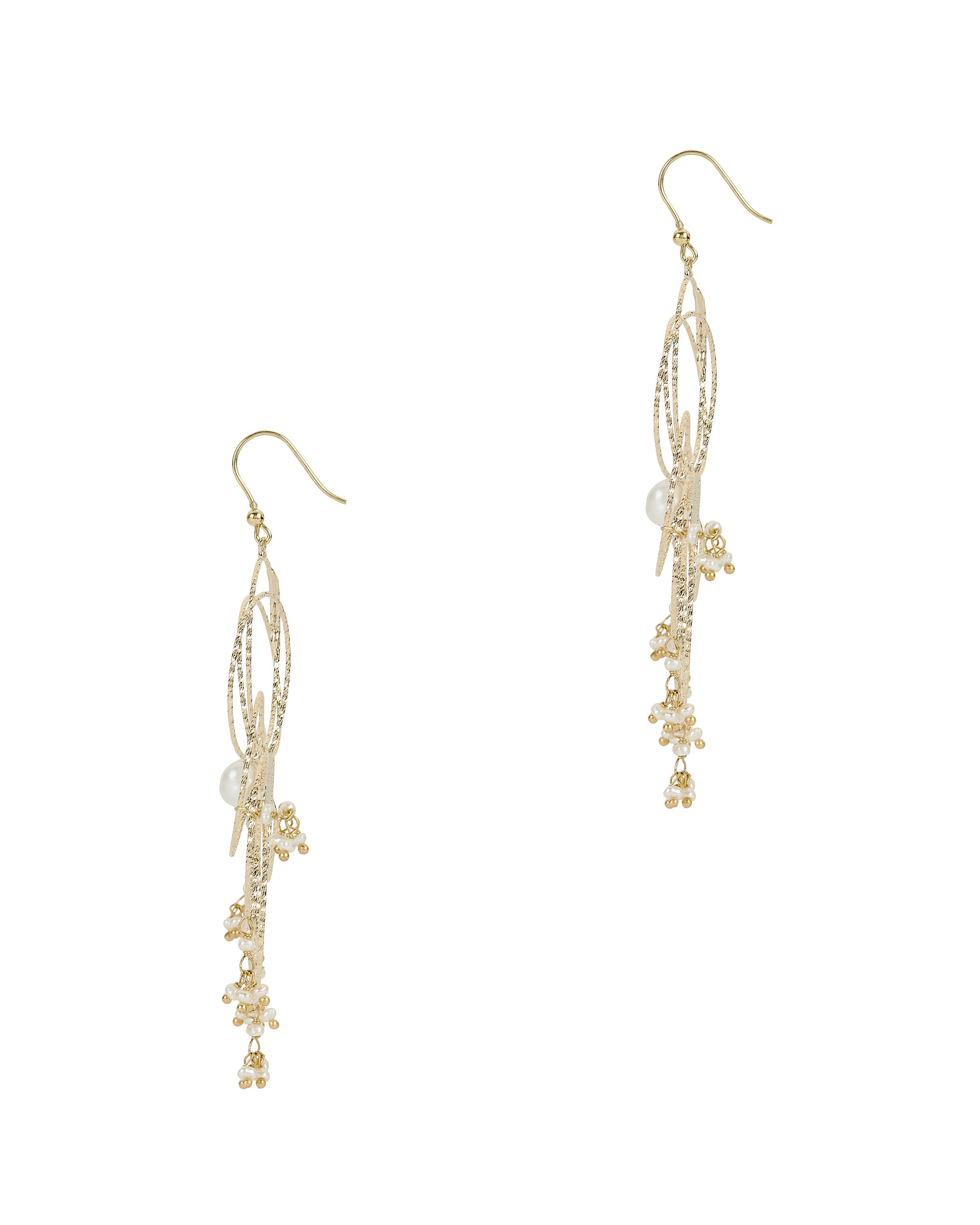 Cosmo Wire Pearl Earrings, METALLIC, hi-res