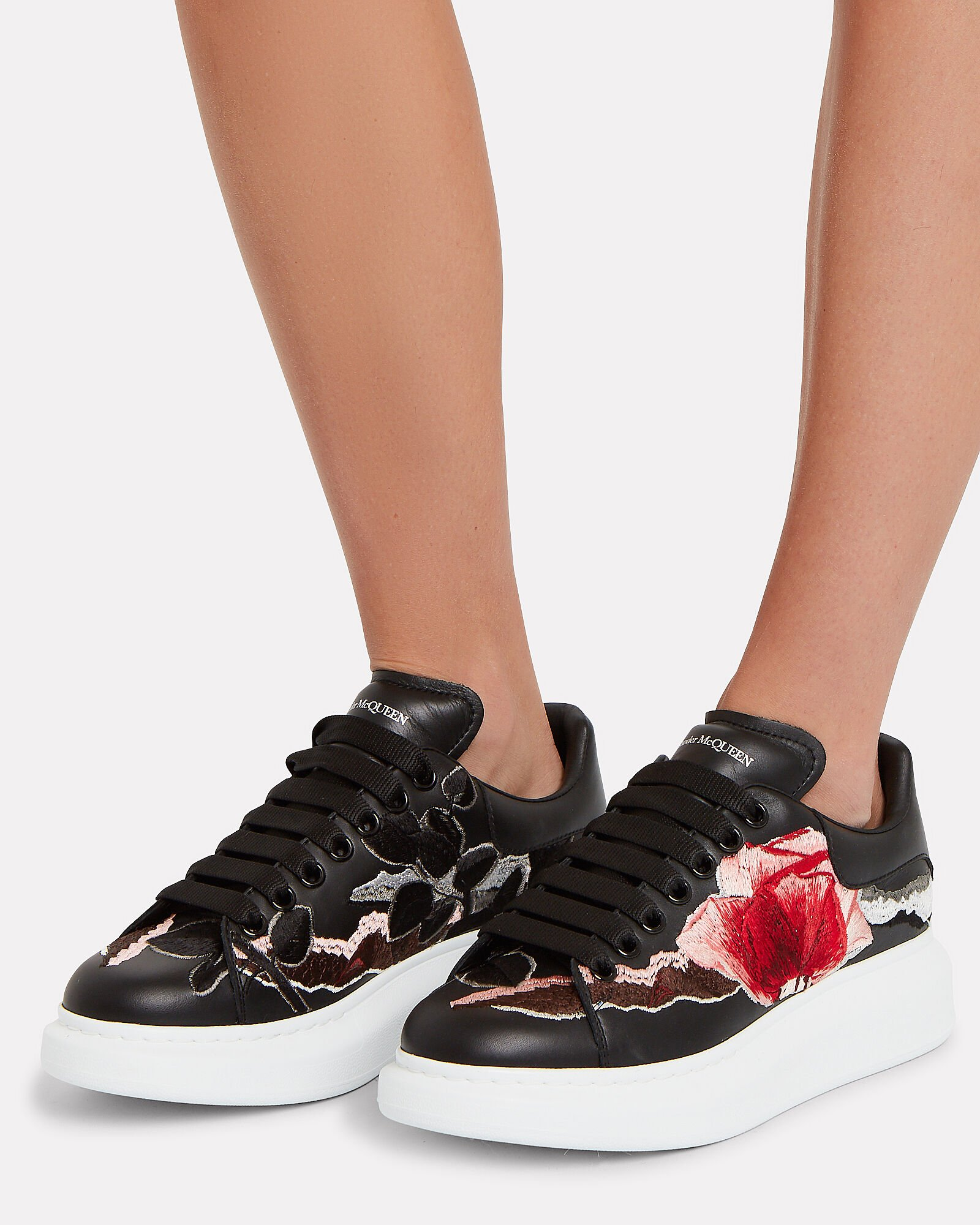 Floral Embroidered Leather Sneakers, BLACK/FLORAL, hi-res