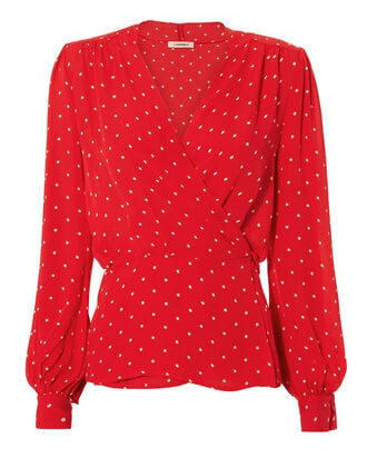 Cara Polka Dot Wrap Blouse, PRI-DOT, hi-res