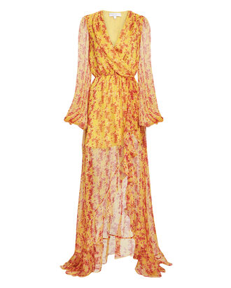 Marigold Abstract-Printed High-Low Gown, MARIGOLD/PINK, hi-res