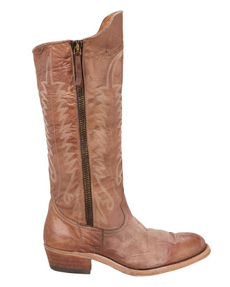 Golden Zip Cowboy Boots, BROWN, hi-res