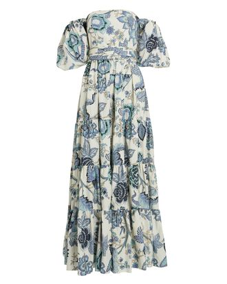Wethersfield Floral Puff Sleeve Maxi Dress, IVORY/LIGHT BLUE, hi-res