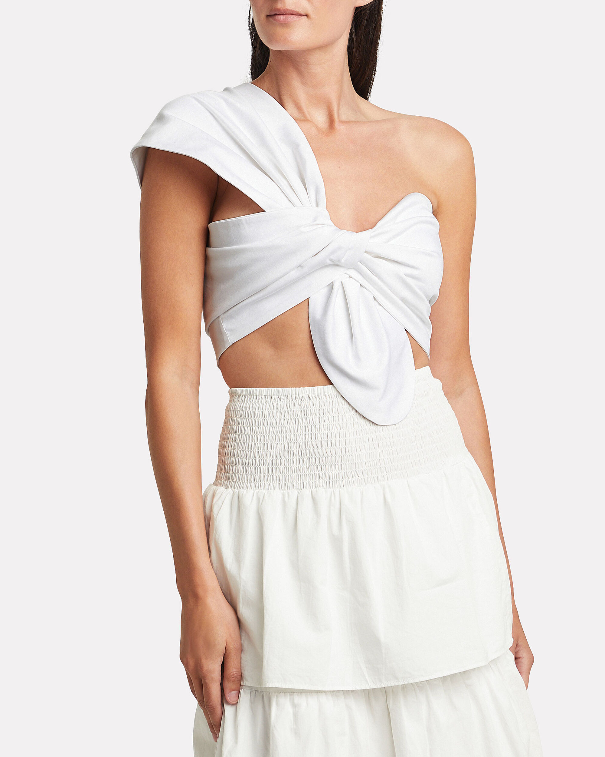 Just Bee Queen Womens Cotton One Shoulder Crop Top White Size XS