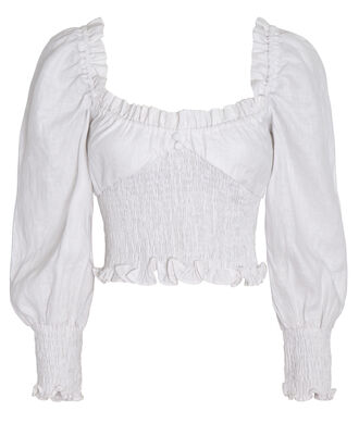 Bel Rose Puff Sleeve Top, WHITE, hi-res