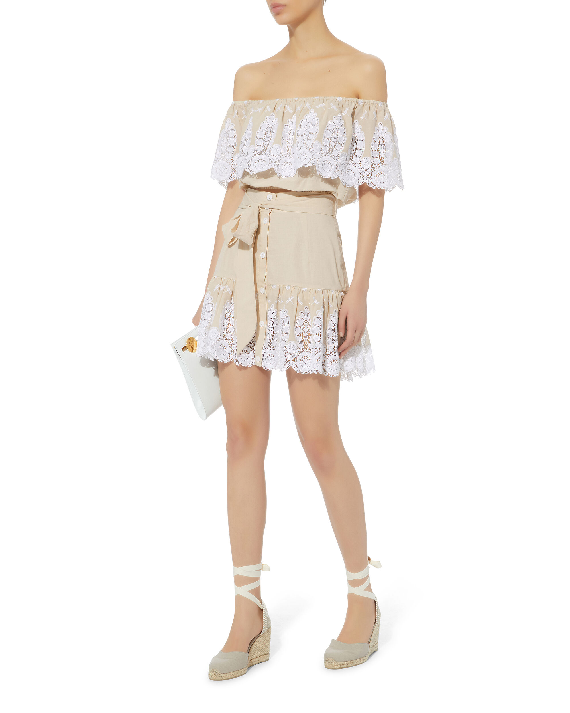 Emy Embroidered Skirt, BEIGE, hi-res