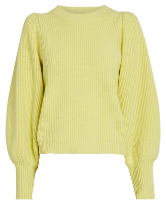 Eliana Puff Sleeve Cashmere-Blend Sweater, CITRON, hi-res