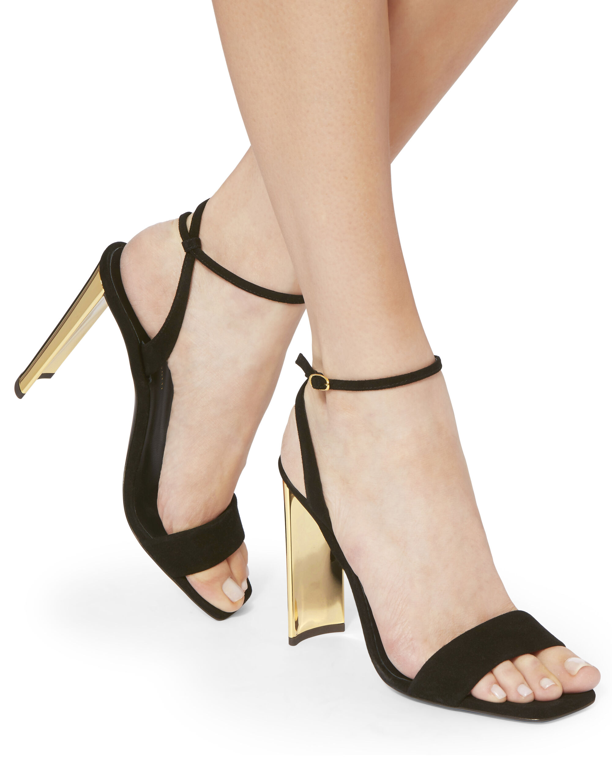 Ada Metal Heel Sandals, BLACK, hi-res