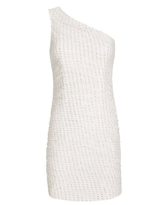 Tinsley One-Shoulder Cocktail Dress, IVORY/METALLIC, hi-res