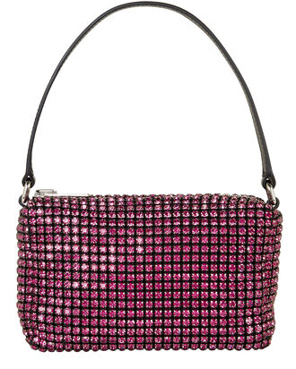 Crystal Chainmesh Clutch, PINK, hi-res