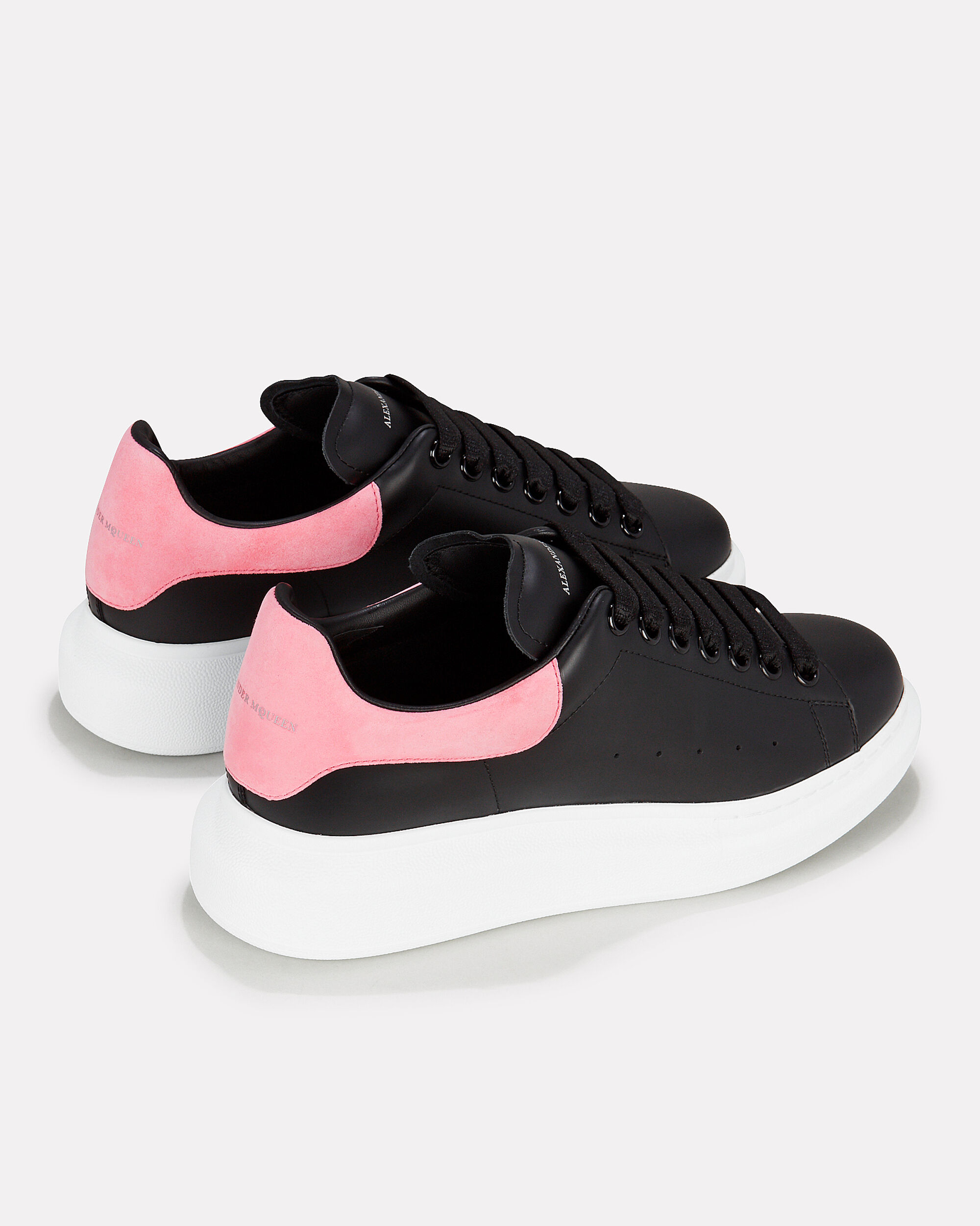 Pelle Pink And Black Leather Sneakers, BLACK, hi-res