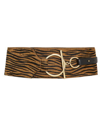 Zebra Corset Waist Belt, BROWN, hi-res