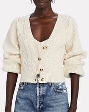 Ramon Cable Knit V-Neck Cardigan, IVORY, hi-res