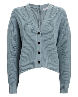 Wool Cut-Out V-Neck Cardigan, BLUE, hi-res