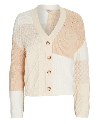 Reese Patchwork Cable Knit Cardigan, MULTI, hi-res