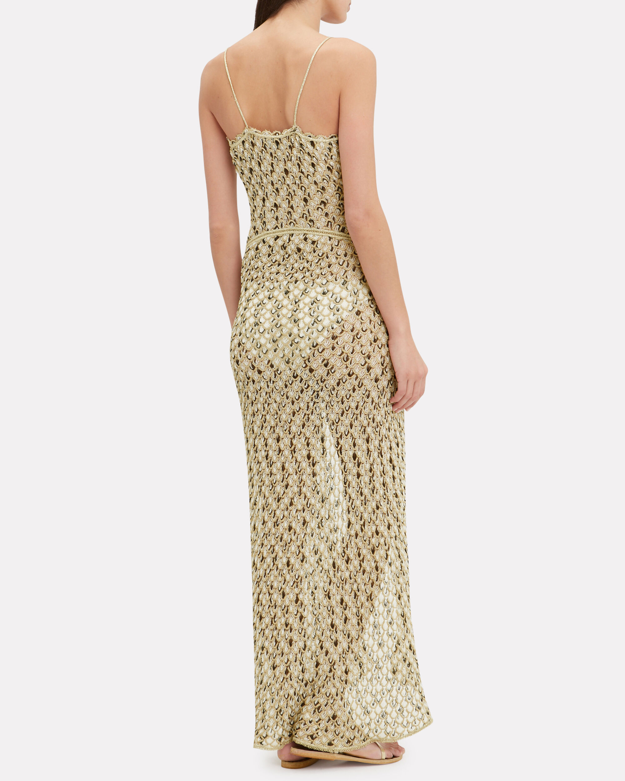 Crochet Front Slit Maxi Dress, GOLD, hi-res