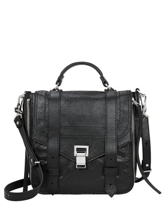 PS1+ Zip Black Leather Backpack, BLACK, hi-res