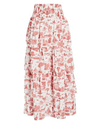 Paloma Tiered Toile Skirt, WHITE/ORANGE, hi-res