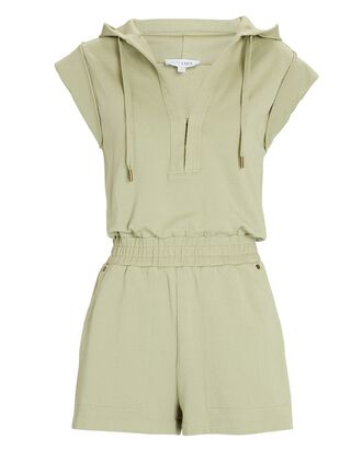 Sammy Hooded Cotton Romper, PALE OLIVE, hi-res