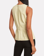 Sculpted Leather Top, CREAM, hi-res