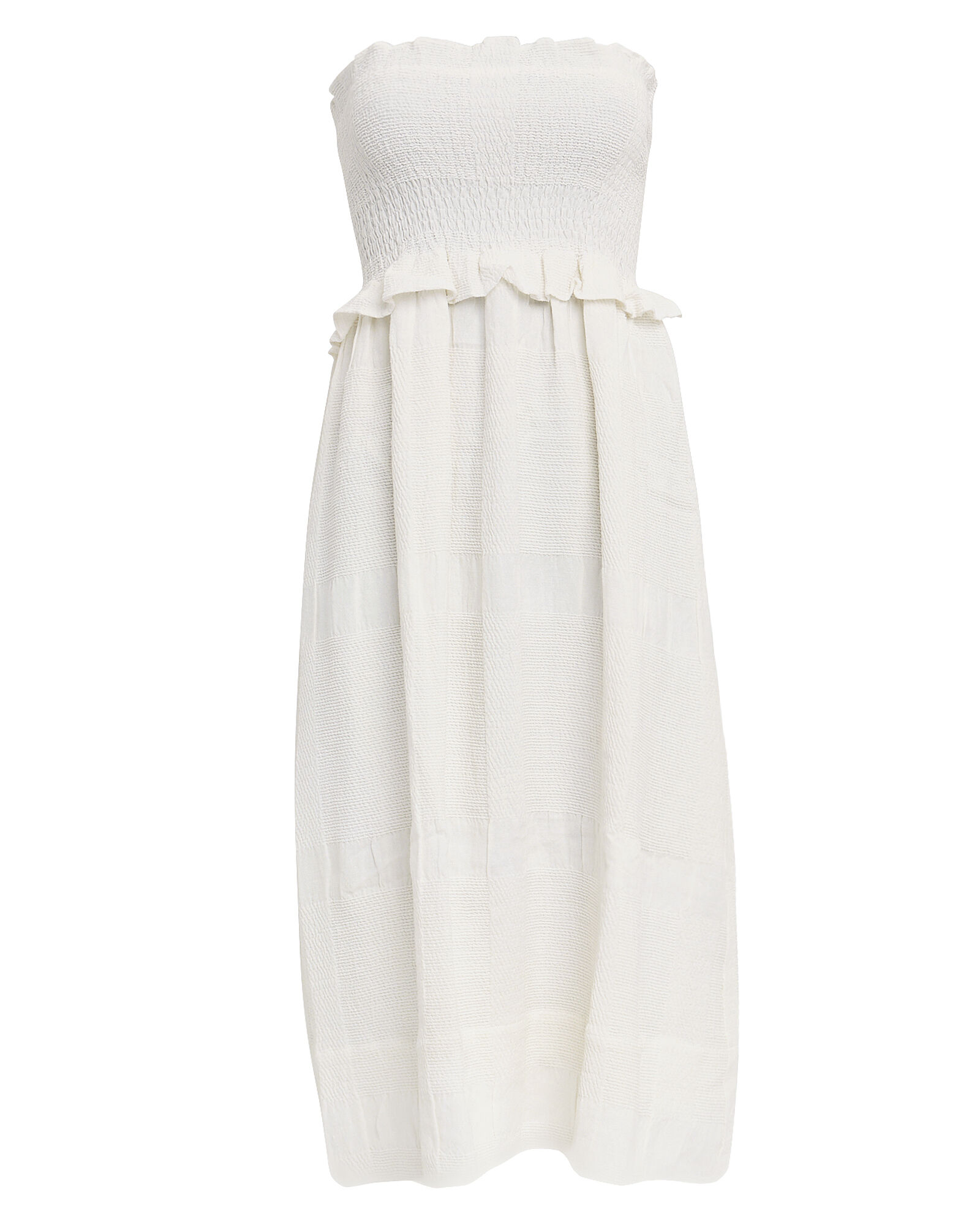 Shirred Babydoll Dress, WHITE, hi-res