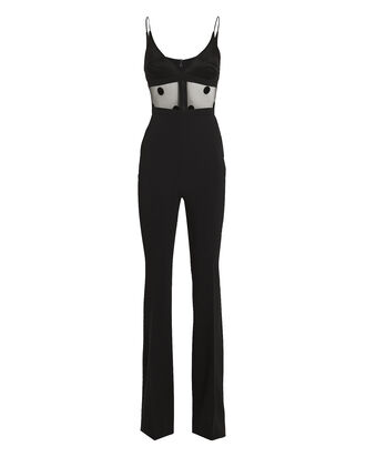 Polka Dot Mesh Jumpsuit, BLACK, hi-res
